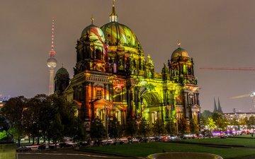 церковь, берлин, 2013, berlin festival of lights, берлинский кафедральный собор, berliner dom