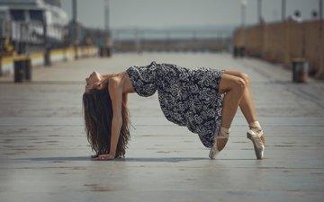платье, город, танец, грация, балерина, пуанты