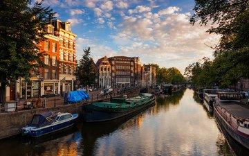 вода, река, канал, нидерланды, амстердам, nederland
