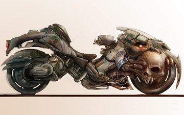арт, фон, колеса, фантастика, мотоцикл, череп
