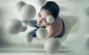 шары, капли, взгляд, макияж, milky balls