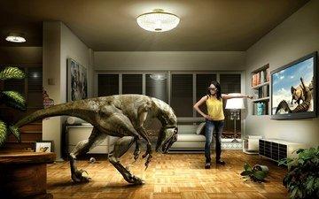 девушка, телевизор, динозавр, юмор