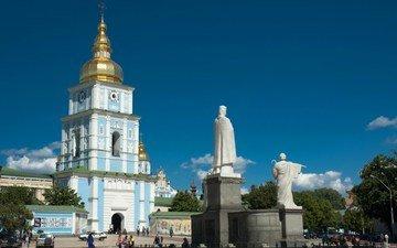 небо, собор, люди, лето, памятник, площадь, украина, киев, михайловский