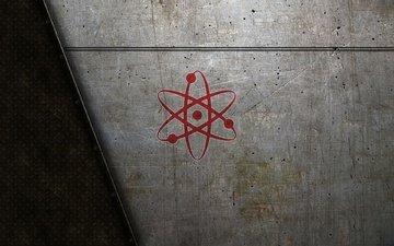 логотип, атамного ядра, на металле