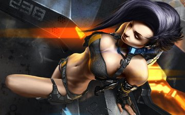 металл, девушка, поза, царапины, летательный аппарат, это не аниме!