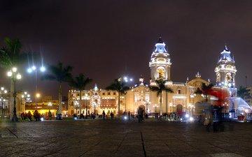 ночь, огни, вечер, собор, город, пальмы, здания, площадь, лима, кафедральный