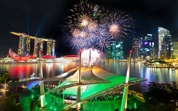 салют, фейерверк, сингапур, marina bay sands, феерверк