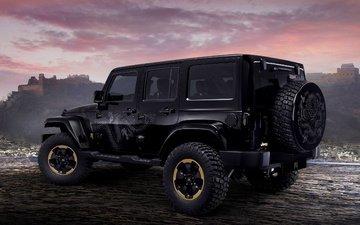 дракон, черный, авто, джип, concept, рэнглер
