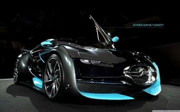 колеса, автомобиль, диски, concept, суперкар, survolt, спойлер., ситроен