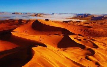 туман, песок, пустыня, бархан, красивый пустынный пейзаж, дюна