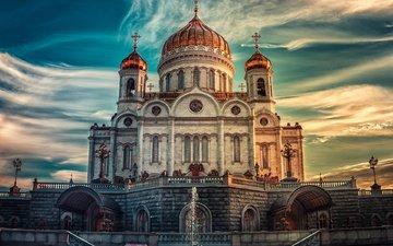 закат, москва, россия, россии, неба, ландшафт, храм христа спасителя, легкие