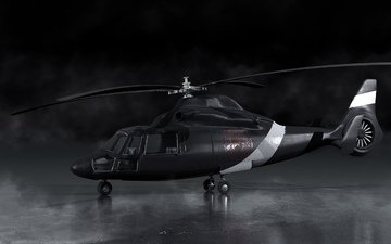 art, smoke, black, helicopter, blades, render