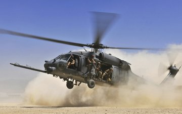 the sky, desert, soldiers, dust, helicopter, blades, landing
