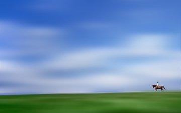 horse, horizon, rider