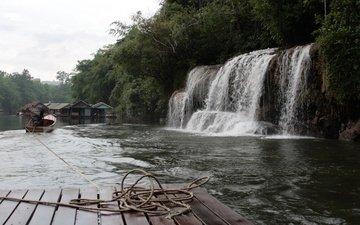 вода, река, природа, водопад, домики, плот, канат, катер