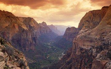 река, горы, природа, пейзаж, вид, долина, русло, ландшафт