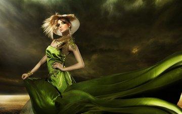 ушанка, перышки, fashionable girl, elegant hairstyle, зеленое платье, грим