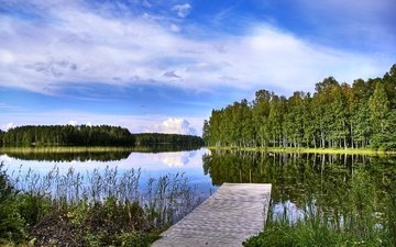 trees, lake, the bridge, landscape, finland