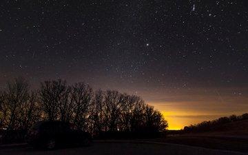 закат, галактика, автомобиль, космическая, деревь, на природе, взляд, ноч, звезд