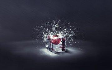 свет, ягода, лёд, осколки, вишня, куб