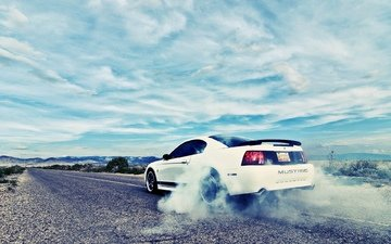 burnout, мустанг, купе, автообои, ford mustang, автодорога