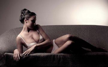 девушка, нижнее белье, большая грудь, красивая девушка