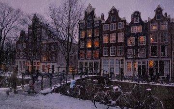 деревья, огни, вечер, река, снег, зима, пейзаж, вид, люди, мост, дома, улица, дождь, здания, окна, зимний, амстердам, let it snow in the amsterdam