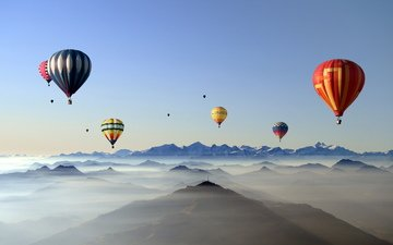 the sky, mountains, nature, balls, fog, sport, balloons