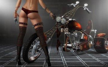 девушка, чулки, мотоцикл, шипы, когти, бюстгальтер, 3д