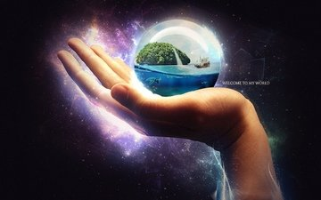 арт, рука, корабль, черепаха, сфера, океан, шар, остров