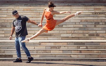 ступеньки, танец, балерина, street ballet