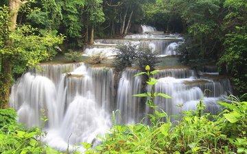 деревья, река, камни, лес, водопад, поток, таиланд, джунгли, каскад