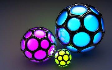 шары, фон, цветные, соты, ячейки