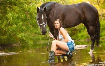 вода, девушка, лето, взгляд, конь, речка, на природе, cowgirl, грин