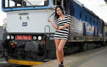 train, station, striped, tess lyndon, platform, tunic