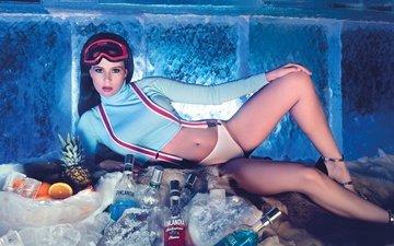 девушка, брюнетка, фрукты, очки, ножки, секси, позирует, алкоголь, водка, блоки, атрибут, льда, фигурка