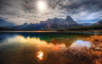 озеро, горы, пейзаж, провинция альберта, canmore