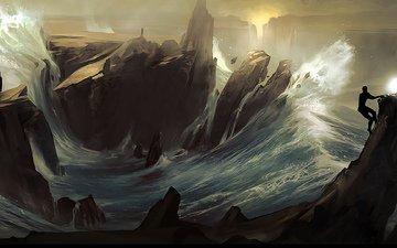 rocks, wave, sea, fire, people, storm, element, 3d