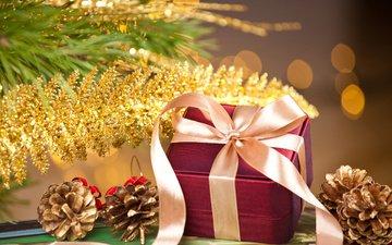 лента, подарок, шишки, коробка