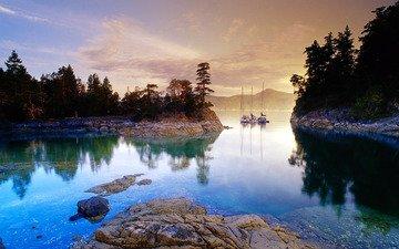 вода, озеро, природа, яхты, канада, яхты на горном озере