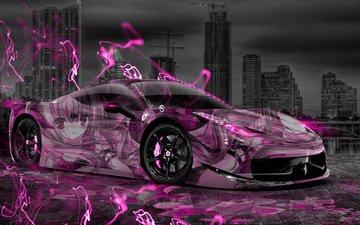 ночь, неон, город, аниме, италия, розовый, розовая, феррари, эффекты, аэрография, 458, aerography, италиа, пинк, gевочка