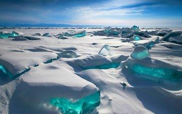 снег, зима, горизонт, лёд