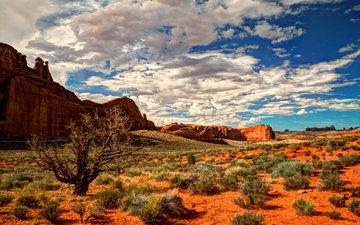небо, скалы, пейзаж, сша, юта, национальный парк арки, штат юта