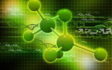 абстракция, фон, клетка, строение, 3д, молекула, атом