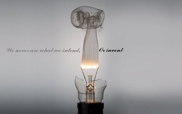 the inscription, smoke, text, light bulb