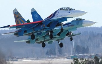 russia, two, russian knights, su 27, aerobatic team