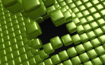 кубики, зеленые, картинка, куб, квадрат, 3д
