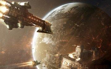 космос, корабли, планеты, warhammer, 40000