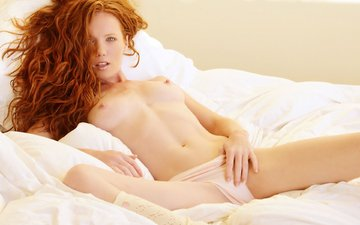 freckles, redhead, bed