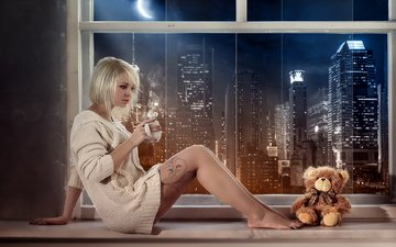girl, the city, bear, sitting, plush, with a mug, in a jacket, on the windowsill